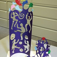 A miniature model of the 11-foot-tall sculpture to appear outside of Affton's new Early Childhood Center on Reavis Road. The sculpture is by Don and Carol Sue Horstman. photo by Diana Linsley