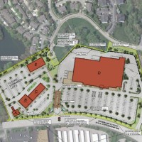 A preliminary site plan from September 2012 showing a proposed Walmart Supercenter in Shrewsbury.