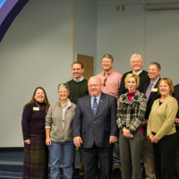 Pictured (back row, L-R): newly elected Sen. Scott Sifton, Dist. 1; Affton Board of Education Vice President Douglas Beck; Director Larry Knox; Superintendent Dr. Steve Brotherton; Assistant Superintendent Dr. Travis Bracht; (front row, L-R) Affton Board of Education Director Patricia Zahn; Director Sue Casaleggi; newly elected Rep. Bob Burns, Dist. 93; Rep. Genise Montecillo, Dist. 92; and Rep. Jeanne Kirkton, Dist. 91. Not pictured: Affton Board of Education President Michael McNeil. Credit Lindsay Toler.